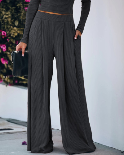 Dark Grey Yoga Wide Leg Pants with Pockets