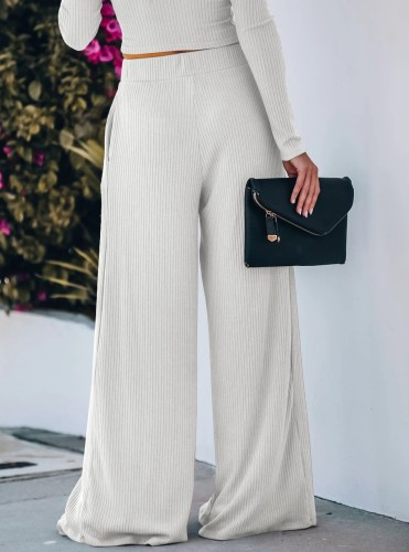 White Yoga Wide Leg Pants with Pockets 5931