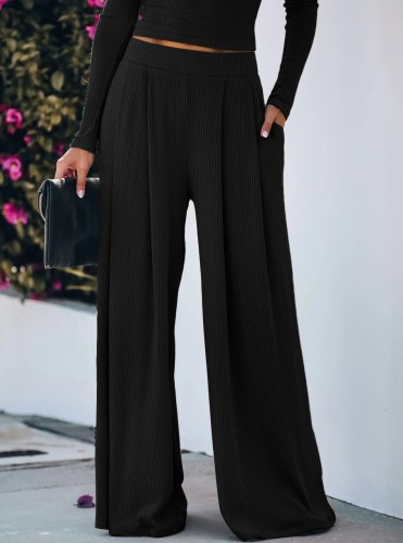 Black Yoga Wide Leg Pants with Pockets
