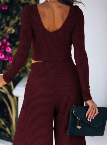Wine Red Solid Full Length Wide Leg Pants Set 5932