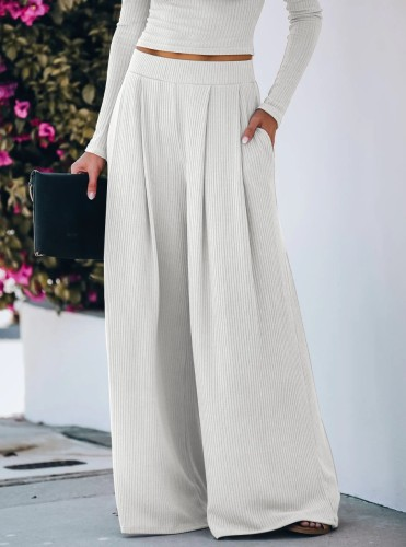 White Yoga Wide Leg Pants with Pockets