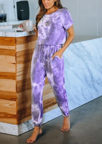 Purple Tie Dye One Piece Jumpsuit 5930