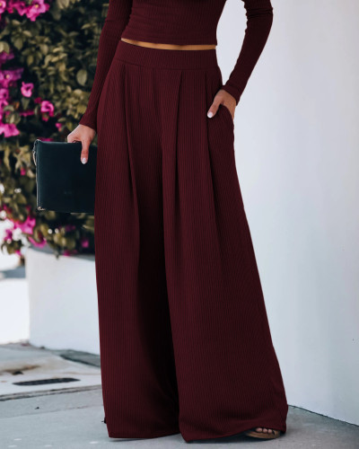 Wine Red Yoga Wide Leg Pants with Pockets 5931