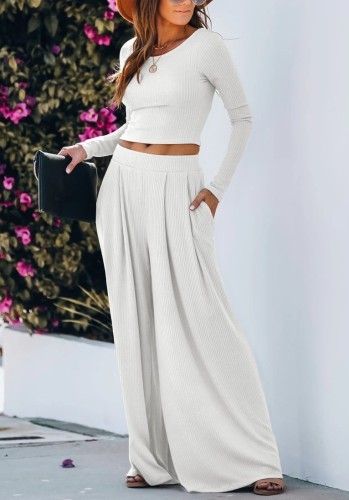 White Solid Full Length Wide Leg Pants Set