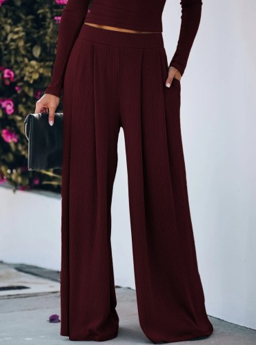 Wine Red Yoga Wide Leg Pants with Pockets