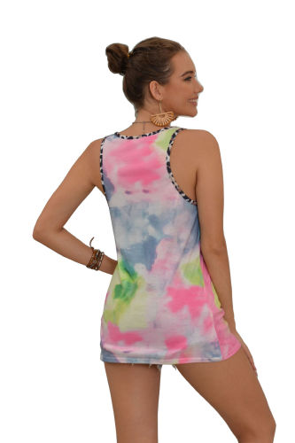 Green Tie Dye Tank Top with Leopard Pocket XC691
