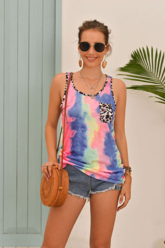 Blue Tie Dye Tank Top with Leopard Pocket