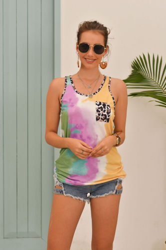 Tie Dye Tank Top with Leopard Pocket