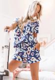 Blue V Neck Printed LoungewearShorts Set
