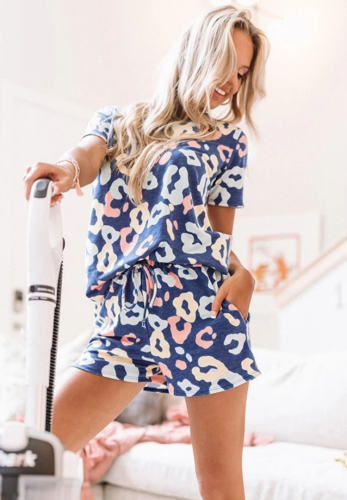 Blue V Neck Printed LoungewearShorts Set