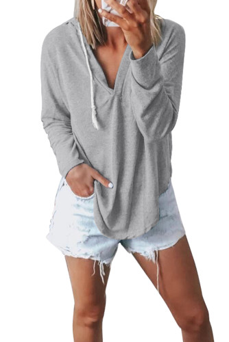 Gray Drawstring V Neck Hoodie Loungewear LC455001