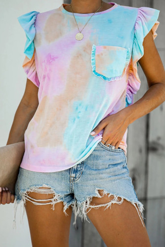 Multicolor Tie-dye Ruffled Cap Sleeve T-shirt