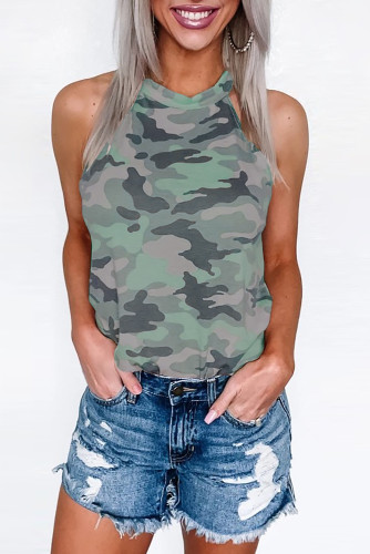 Green Coastal Army Halter Tank Top LC253635