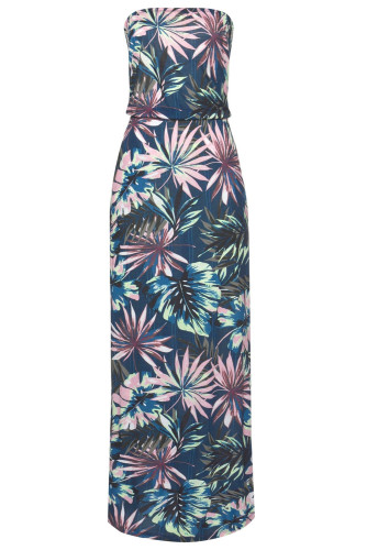 Green Bohemian Bandeau Print Maxi Dress LC611159