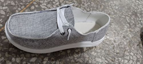 Grey Solid Canvas Shoes XC696