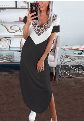 Black Colorblock Leopard V Neck Dress
