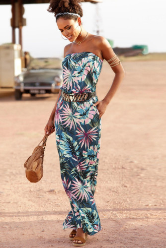 Green Bohemian Bandeau Print Maxi Dress