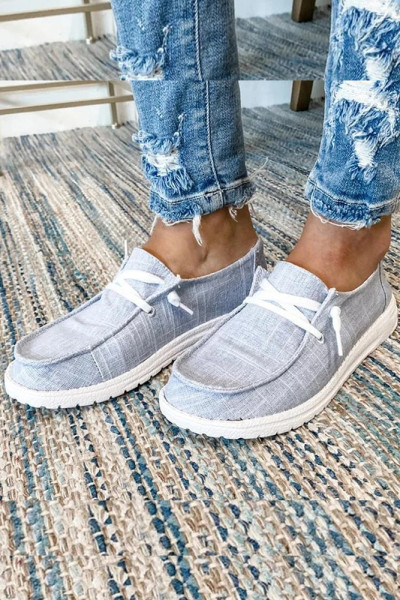 Grey Solid Canvas Shoes