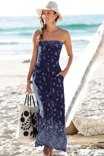 Blue Bohemian Bandeau Floral Print Maxi Dress