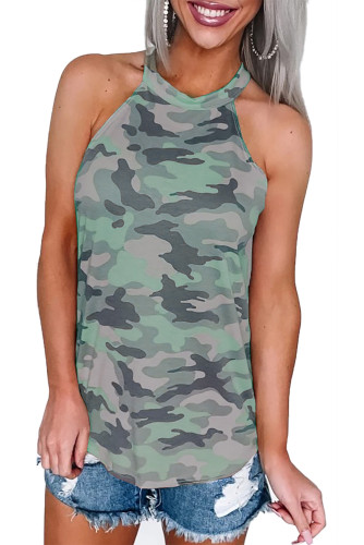 Green Coastal Army Halter Tank Top