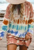 Multi-colored Tie Dye Pullover Sweatshirt Dress