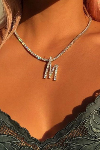 M Letter Pendant Rhinestoned Necklace