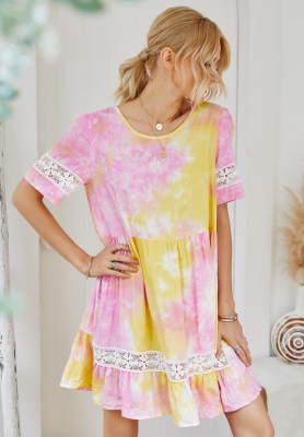 Summer Tie Dye Ruffled Dress