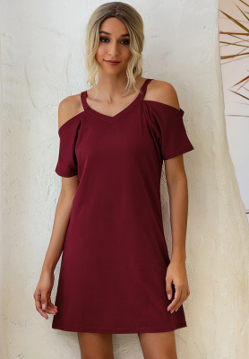 Wine Red Solid Cord Shoulder V Neck Dress