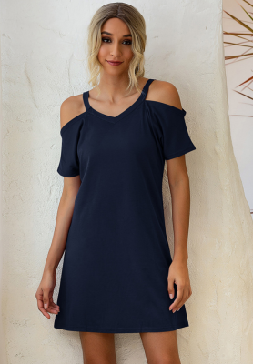Navy Solid Cord Shoulder V Neck Dress