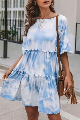 White Crew Neck Tie Dye Half Sleeve Dress