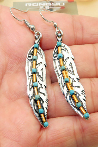 Turquoise Bead Antique Silver Feather Drop Dangle Hook Earrings LC01084