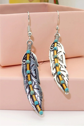 Turquoise Bead Antique Silver Feather Drop Dangle Hook Earrings