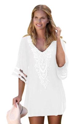 White Crochet Detail Mesh Sleeve Chiffon Beach Cover Up