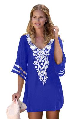 Blue Crochet Detail Mesh Sleeve Chiffon Beach Cover Up