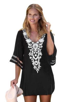 Black Crochet Detail Mesh Sleeve Chiffon Beach Cover Up