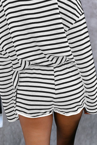 Gray Striped Lounge Long Sleeves Shorts Set LC45063