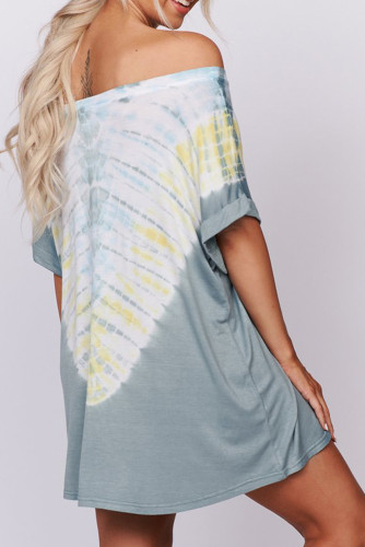 Blue Off-the-shoulder Casual T-shirt Dress with Print LC221107