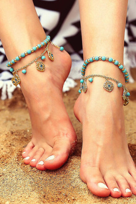 Boho Flower Layered Turquiose Bead Anklet
