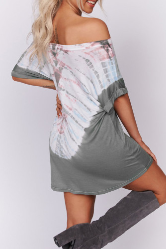 Gray Off-the-shoulder Casual T-shirt Dress with Print LC221107