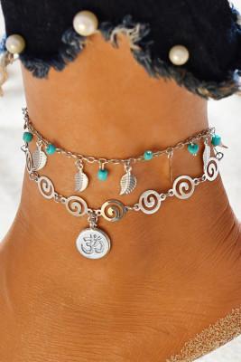Boho Double Chain 3D Symbol Pendant Barefoot Sandal Beach Anklet Foot Chain