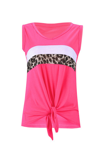 Neon Pink Leopard Striped Patchwork Sleeveless Top LC256004