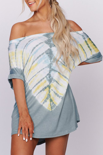 Blue Off-the-shoulder Casual T-shirt Dress with Print