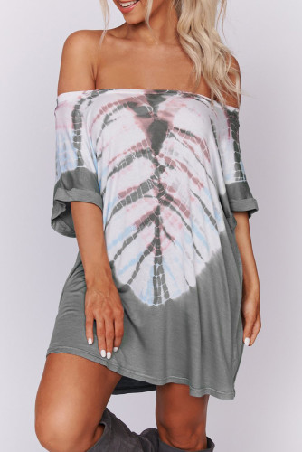 Gray Off-the-shoulder Casual T-shirt Dress with Print
