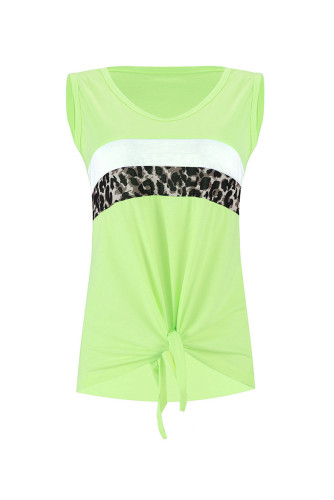 Neon Green Leopard Striped Patchwork Sleeveless LC256004
