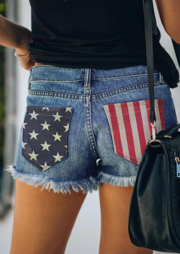 Ripped American Flag Shorts Jeans with Tassel