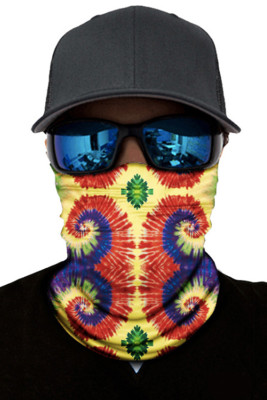 Orange Print Face Mask and Neck Warmer with Dust and Sun UV Protection
