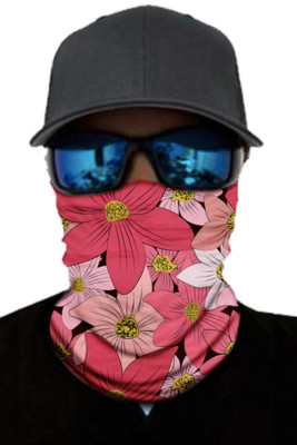 Red Floral Print Face Mask and Neck Warmer with Dust and Sun UV Protection