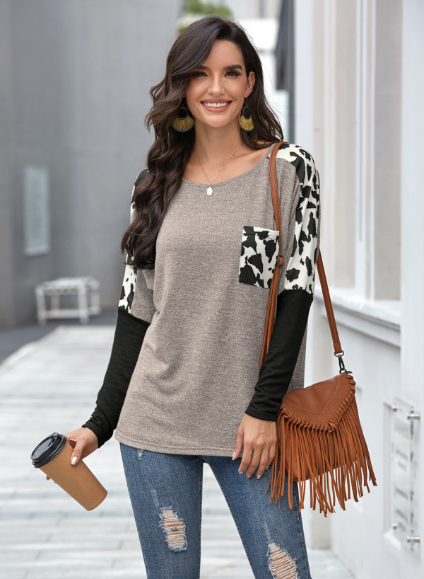 Grey Long Sleeve Leopard Splicing Sleeve T-shirt