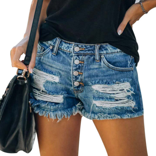 Ripped American Flag Shorts Jeans with Tassel XC721