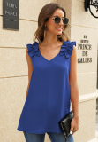Blue Solid V Neck Ruffled Shoulder Tank Top